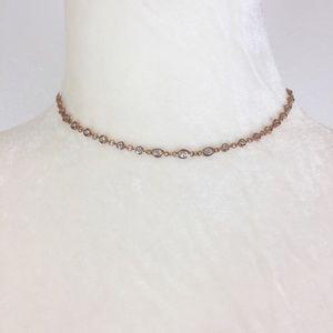 $10 CLEARANCE Rose Gold Rhinestone Choker Necklace